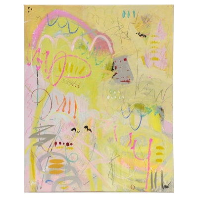 """Susan Crew Mixed Media Painting """"Spring Wispers"""""""