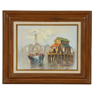 Harbor Scene with Moored Boat Oil Painting, Mid to Late 20th Century