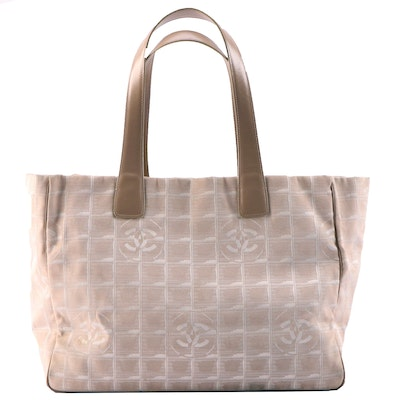 Chanel Travel Line Beige Logo Jacquard Shoulder Tote