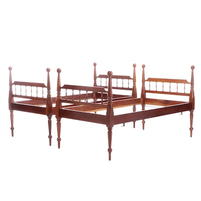Cherry Twin Sized Bed Frames, Mid to Late 20th Century