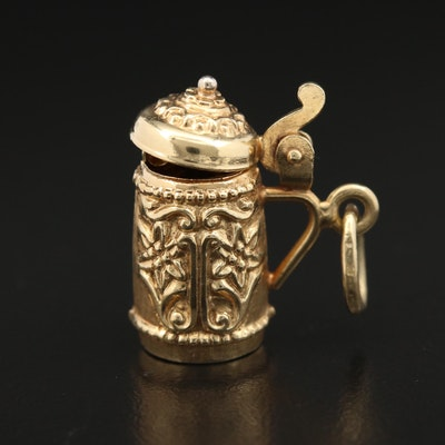 14K Yellow Gold Beer Stein Charm Pendant
