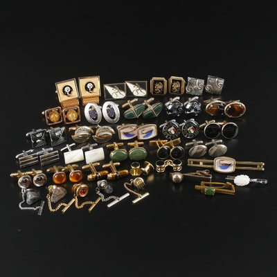 Assorted Tie Bars, Cufflinks, Shirt Studs with Resin, Glass and Mother of Pearl