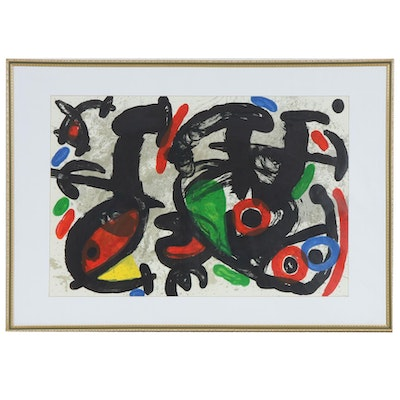 "Joan Miró Double-Page Color Lithograph for ""Derrière le Miroir"", 1970"