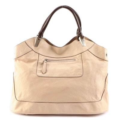 Kenzo Beige Grained Leather Hobo Bag with Grommets and Brown Leather Handles