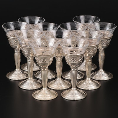 Redlich & Company Sterling Silver Zarf Cordial Cups with Etched Glass Liners