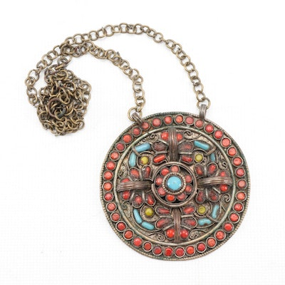 Sino-Tibetan Glass Beaded Pendant with Chain