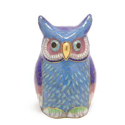 Cloisonné Owl Figurine, Mid to Late 20th Century