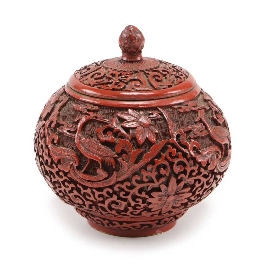 Chinese Carved Cinnabar Style Lidded Jar