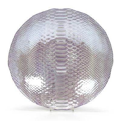 Metallic Lavender Glass Centerpiece with Molded Snakeskin Pattern