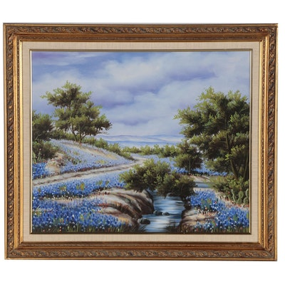 Landscape Acrylic Painting of Texas Bluebonnets