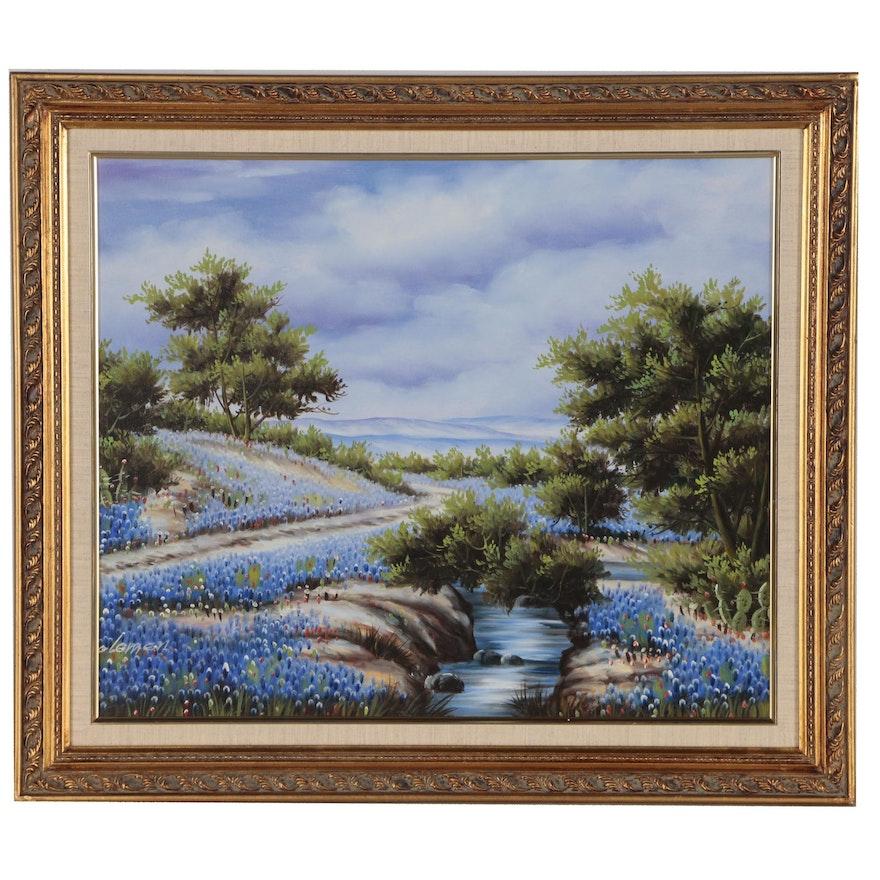Landscape Acrylic Painting of Texas Bluebonnets