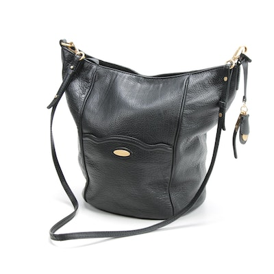 Tahari Black Pebbled Leather Hobo Bag with Crossbody Strap