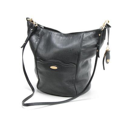 Tahari Black Pebbled Leather Hobo Bag with Crossbody Strap