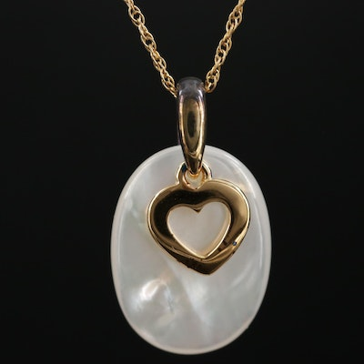 Sterling Silver Heart Charm and Mother of Pearl Drop Necklace