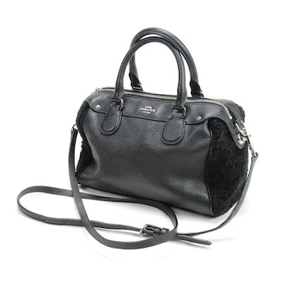 Coach Black Faux Shearling and Pebbled Leather Two-Way Handbag