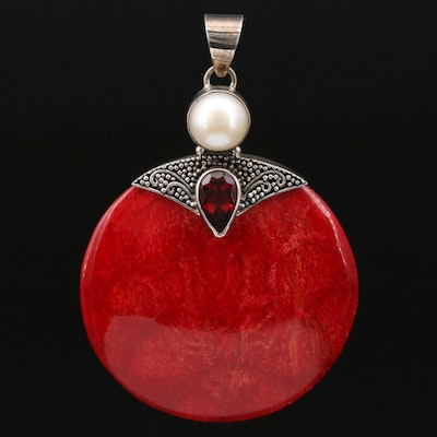 Sterling Silver Coral, Garnet and Pearl Pendant