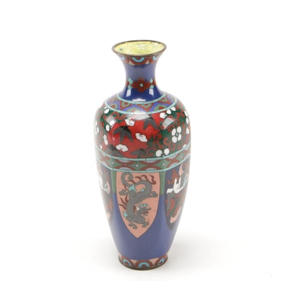 Chinese Cloisonné Willow Leaf Vase, circa 1900