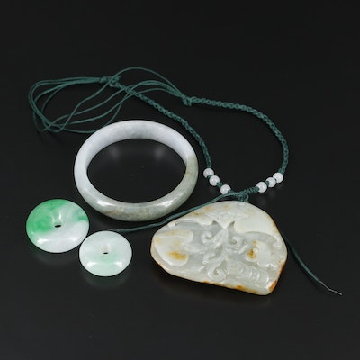 Carved Jadeite Necklace, Bracelet and Pendants