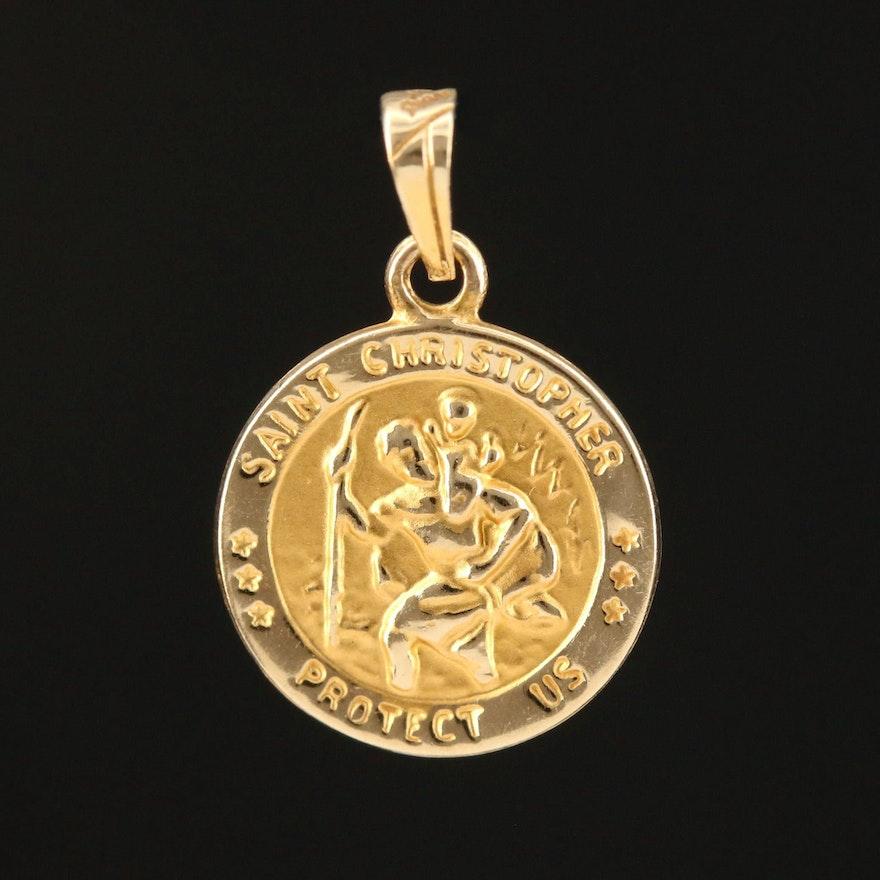 14K Yellow Gold St. Christoper Medal Pendant