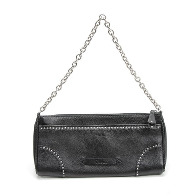 Cole Haan Studded Black Grained Leather Evening Bag with Chain Link Strap