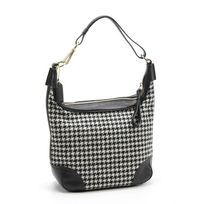 Coach Hamilton Houndstooth Tweed and Black Leather Hobo Bag