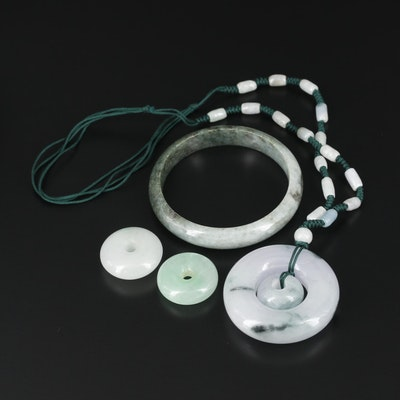 Jadeite Necklace and Pendants with Nephrite Bracelet