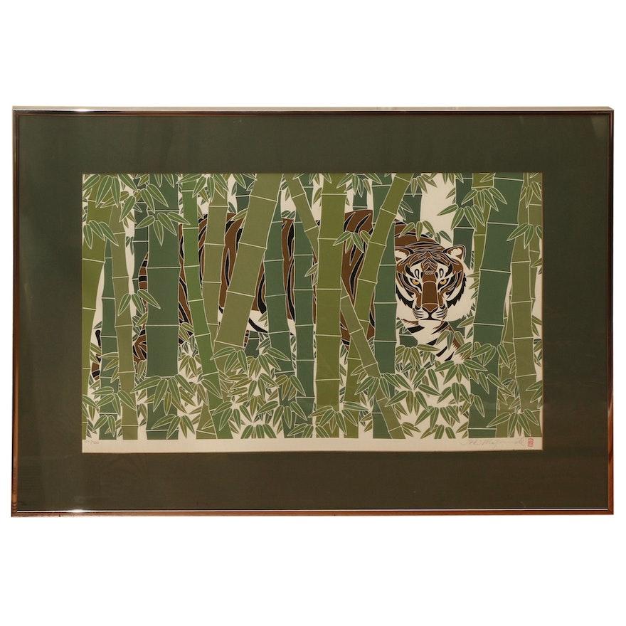 "Ikki Matsumoto Serigraph ""Bamboo Tiger"""