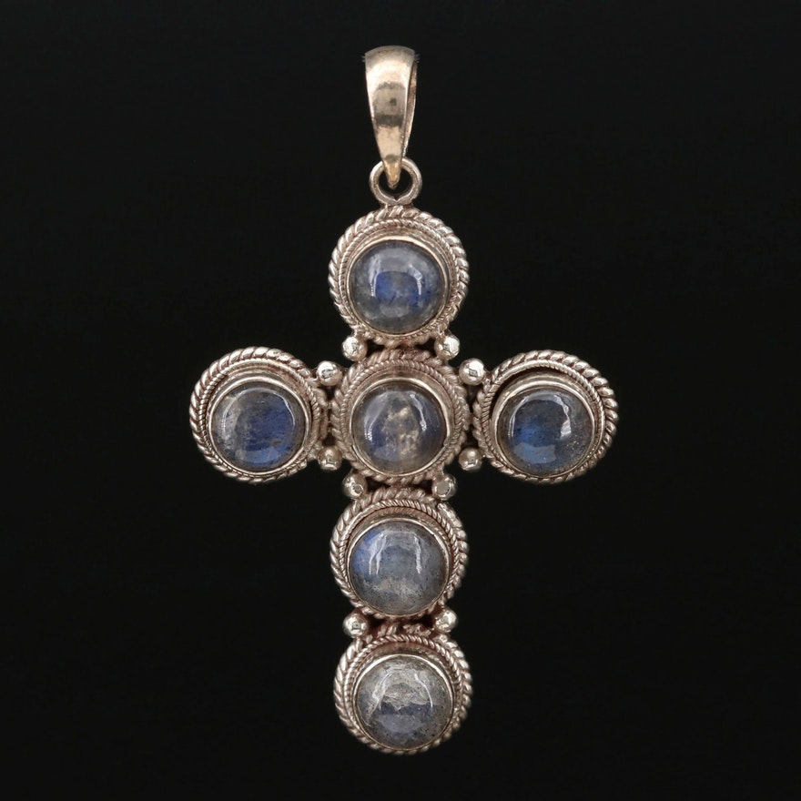 Sterling Silver Labradorite Cross Pendant