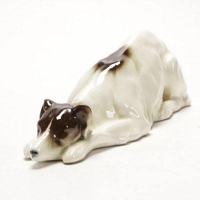 German Porcelain Lying Down Dog Figurine, Early to Mid 20th Century