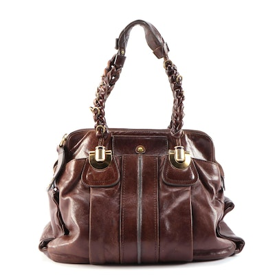 Chloé Heloise Mahogany Brown Leather Shoulder Bag with Braided Handles