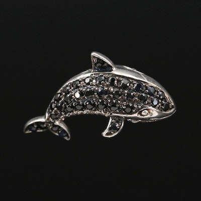Sterling Silver Topaz, Sapphire and Spinel Orca Pendant