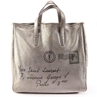 Yves Saint Laurent Y-Mail Postcard Motif Metallic Leather Tote Bag