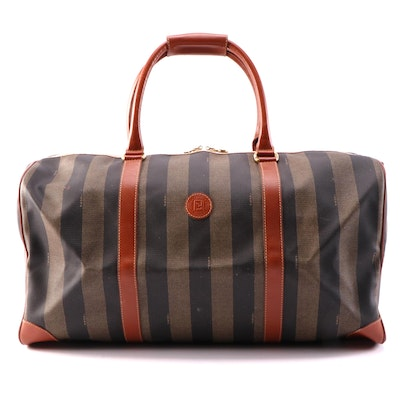 Fendi Pequin Striped Coated Canvas and Leather Duffle Bag