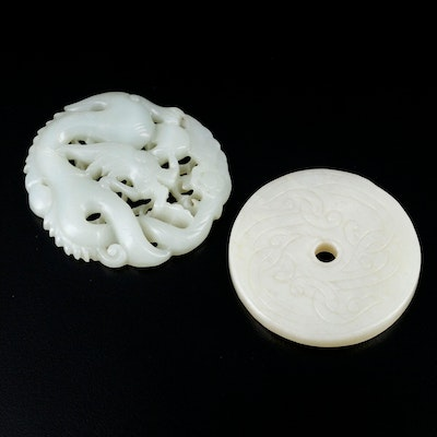 Carved Nephrite Pendants Featuring Dragon Design