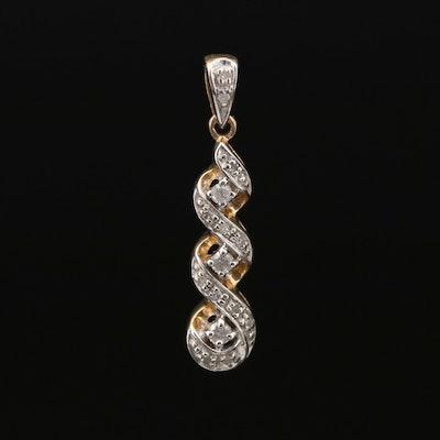 10K Twisted Ribbon Motif Diamond Pendant