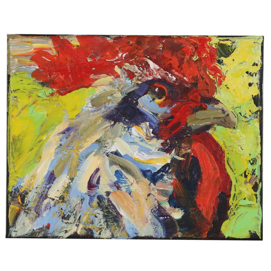Elle Raines Acrylic Painting of Rooster