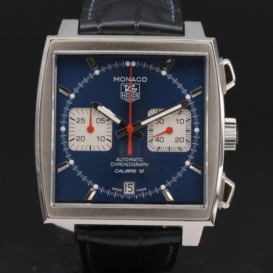 TAG Heuer Monaco Calibre 12 Chronograph Stainless Steel Wristwatch