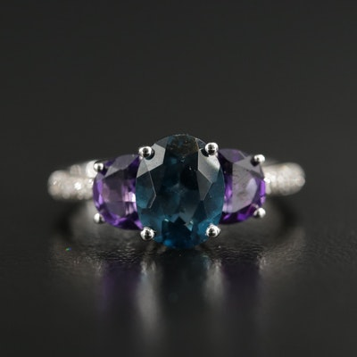 Sterling Blue Topaz, Amethyst and Diamond Ring
