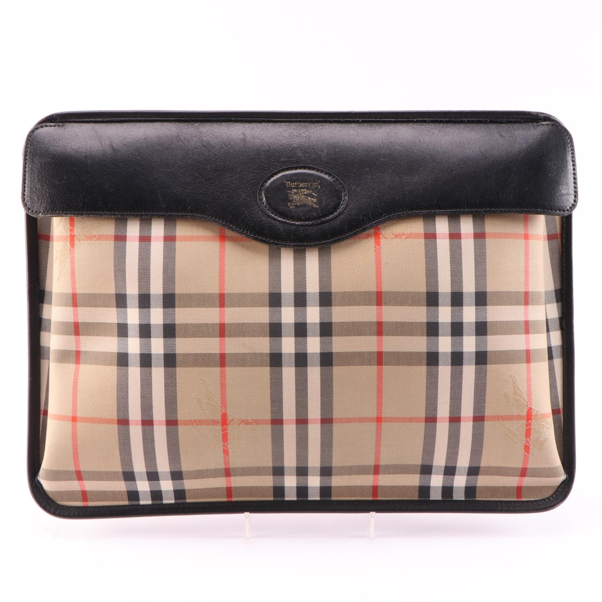 "Burberry ""Horseferry Check"" Canvas and Black Leather Attaché Case, Vintage"