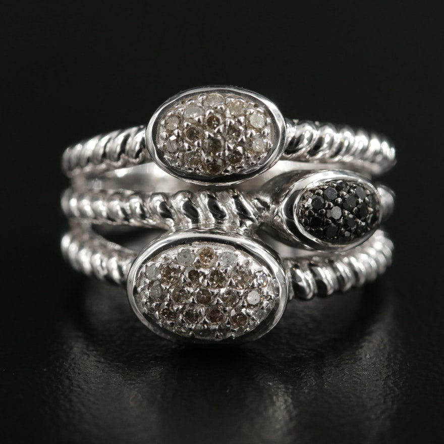 Sterling Silver Diamond Ring with Black Diamond Accents