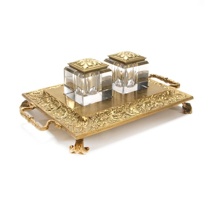 Art Nouveau Brass Footed Double Inkwell, Early to Mid 20th Century