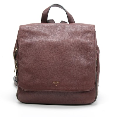 Fossil Mahogany Pebbled Leather Backpack Purse with Adjustable Straps