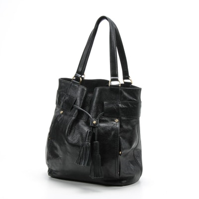 Cole Haan Black Grained Leather Shoulder Bag with Tassel Drawstring