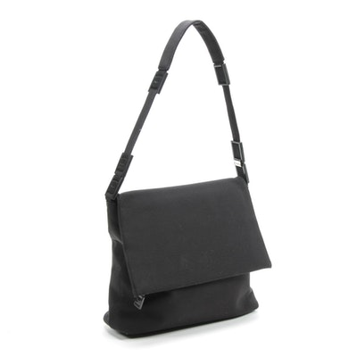 Salvatore Ferragamo Black Neoprene Front Flap Handbag