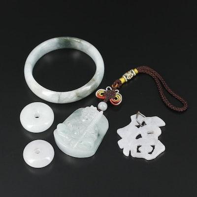 Carved Jadeite Bracelet and Pendants
