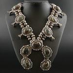 Vintage Southwestern Turquoise Squash Blossom Necklace with Naja