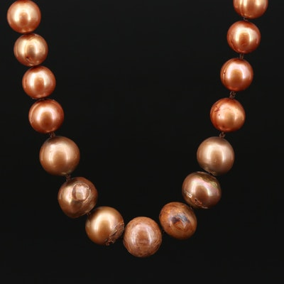 Cultured Pearl Strand Necklace With 10K Yellow Gold Clasp