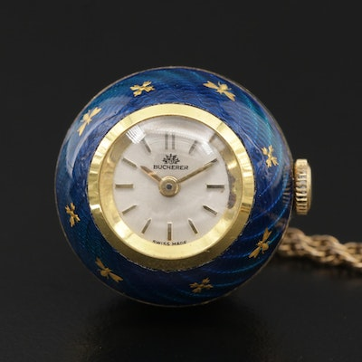 Swiss Bucherer Enamel Pendant Watch with Gold Filled Chain