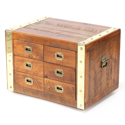 Pine Six Drawer Campaign Chest with Brass Banding, Mid-20th Century