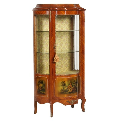 Louis XV Style Tulipwood-Veneered and Paint-Decorated Vitrine, 20th Century